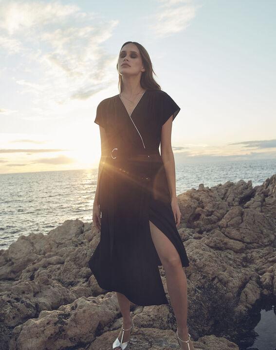 Hodda black asymmetric wrap dress (3) - Maison 123