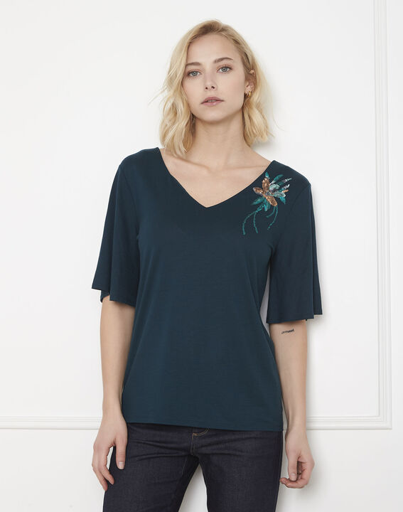 Pearl green embroidered flower T-shirt PhotoZ | 1-2-3