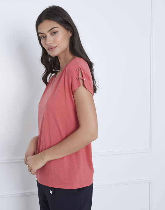 Palmbeach pink T-shirt with shoulder detailing PhotoZ | 1-2-3