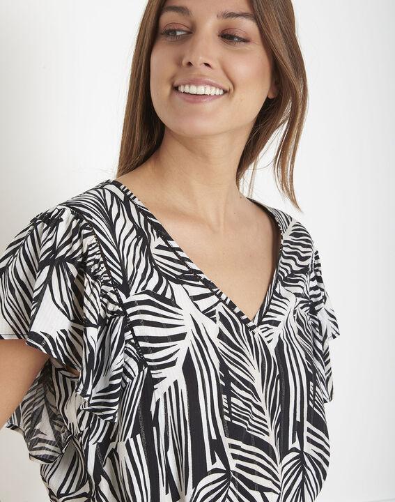 Villiers black and white foliage print blouse PhotoZ   1-2-3