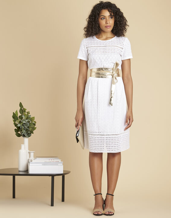 Raul wide tie belt in gold leather (4) - Maison 123