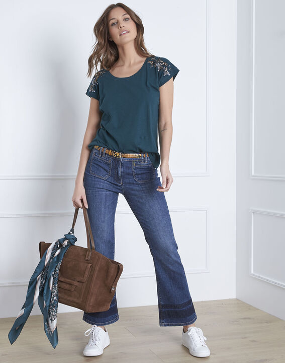 Paola dark green embroidered T-shirt (1) - Maison 123
