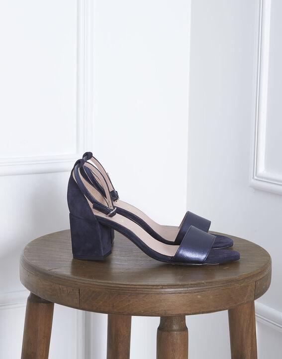 Khloe blue open-toed leather sandals PhotoZ | 1-2-3