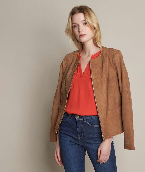 Genna orange two-fabric blouse PhotoZ | 1-2-3