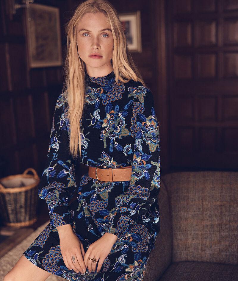 Sixteen blue-and-black-print short dress PhotoZ | 1-2-3