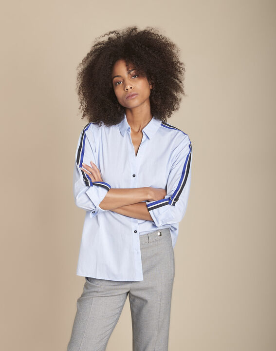Mauranne blue poplin blouse with contrasting braid details PhotoZ | 1-2-3