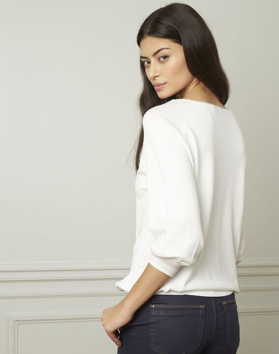 Amarante white sporty style pullover with lurex details (3) - Maison 123