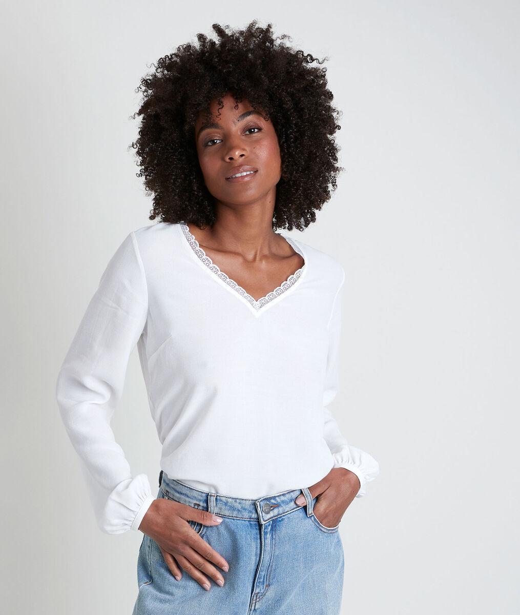 WILSON ecru dual-fabric V-neck top PhotoZ | 1-2-3
