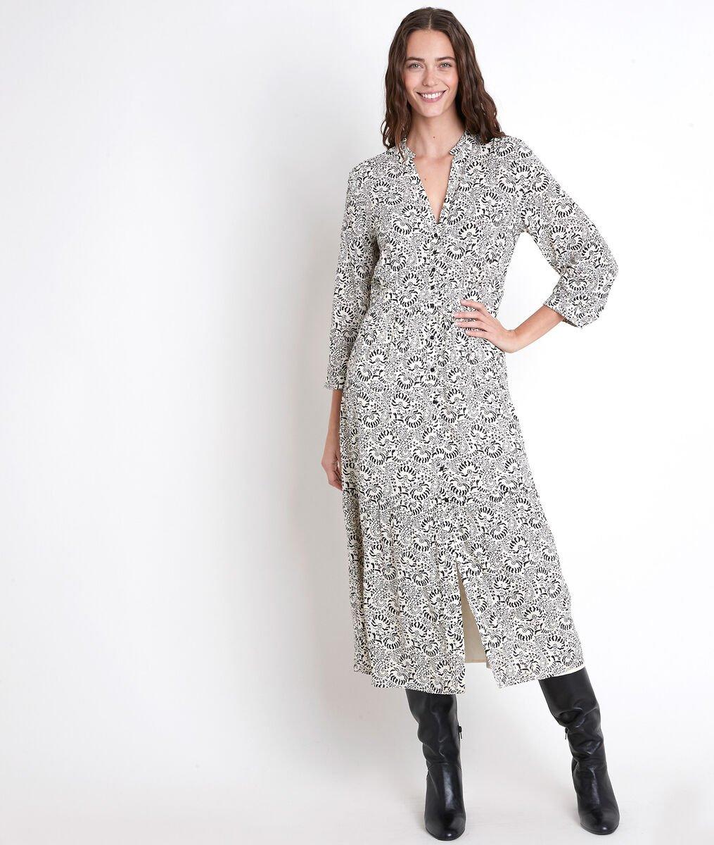 CAROLA ecru printed maxi dress PhotoZ   1-2-3