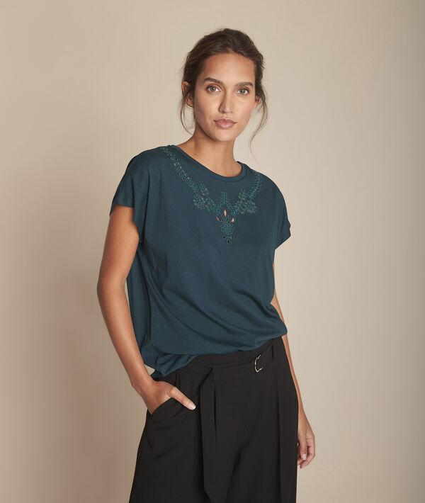 Chypre dark green T-shirt with embroidered openwork details at the neckline PhotoZ | 1-2-3