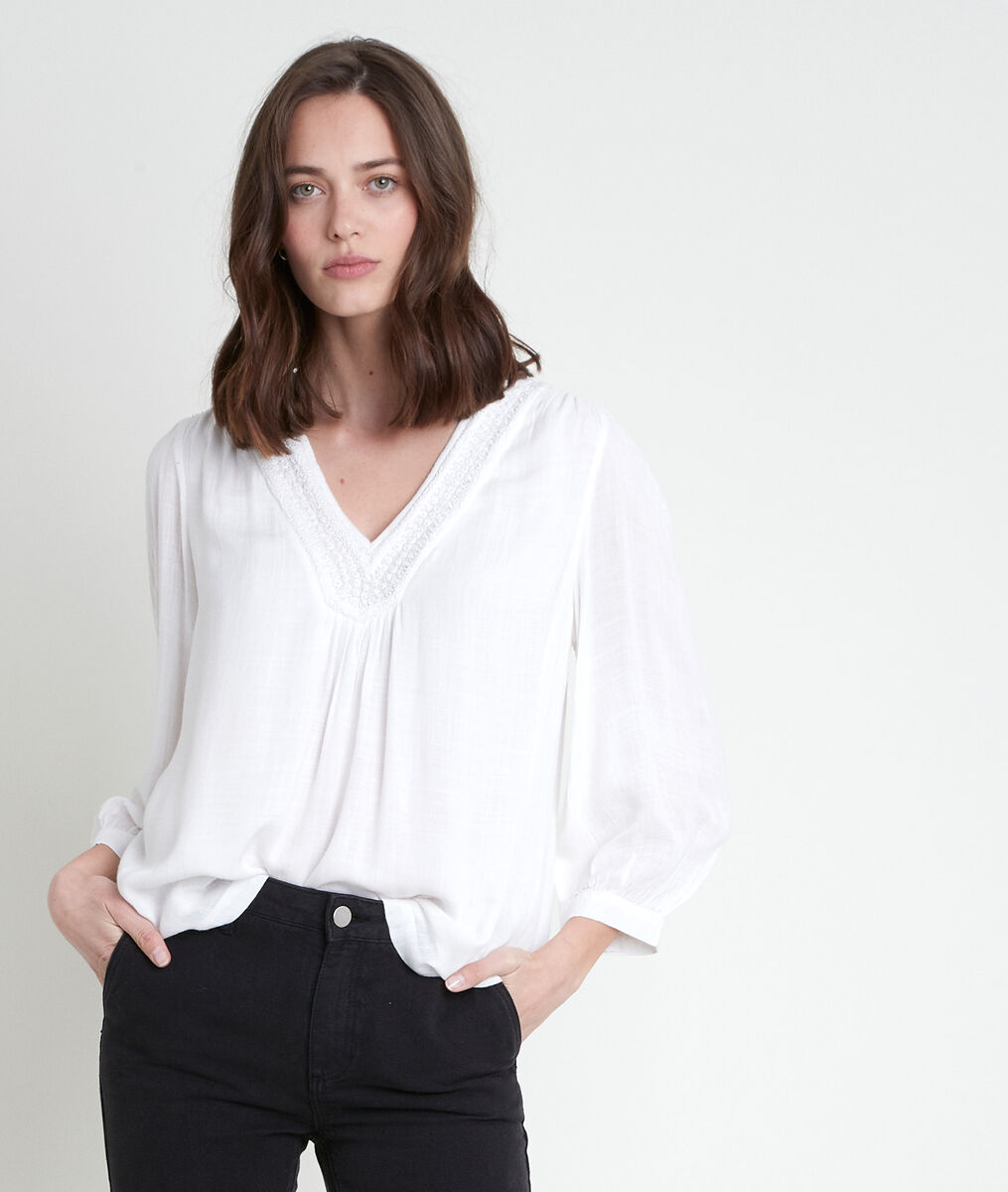 TAYLOR ecru blouse with embroidered neckline PhotoZ   1-2-3