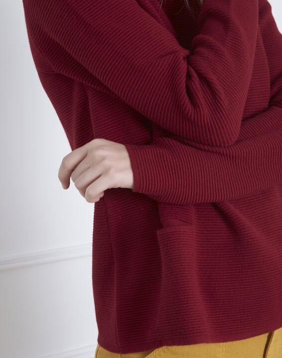 Belize garnet red fine knit funnel neck jumper (3) - Maison 123