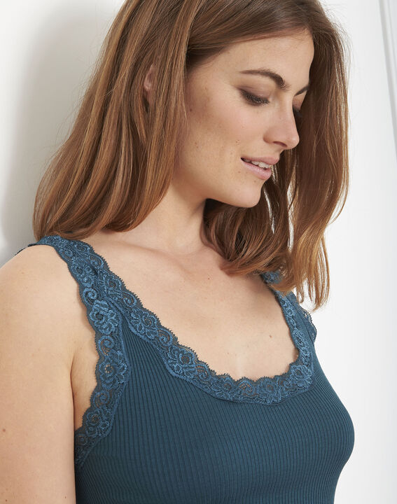 Guest green silk and cotton tank top with lace neckline (4) - Maison 123