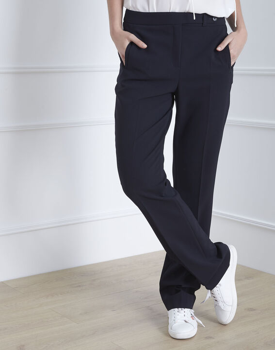 Hugo navy microfibre straight cut trousers with buttoned waistband (1) - Maison 123