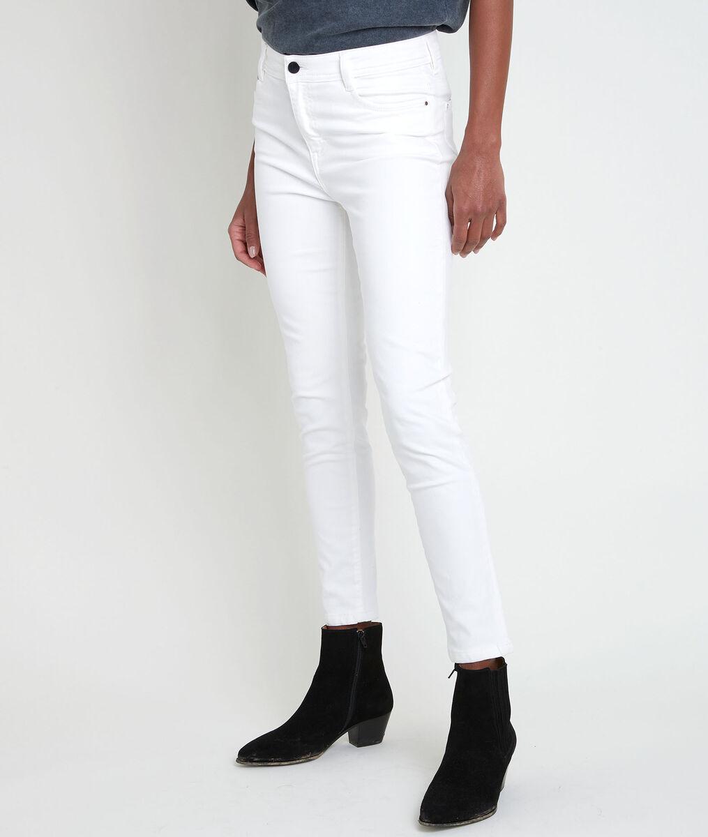 The iconic SULTAN ecru slim-fit cotton satin jeans PhotoZ | 1-2-3