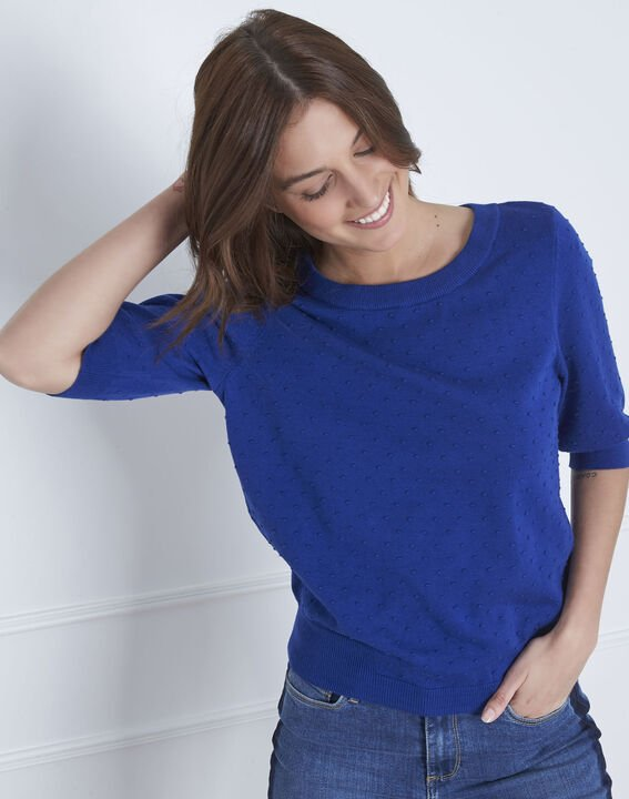 Adriana blue 3D knit pullover with grosgrain bow PhotoZ | 1-2-3
