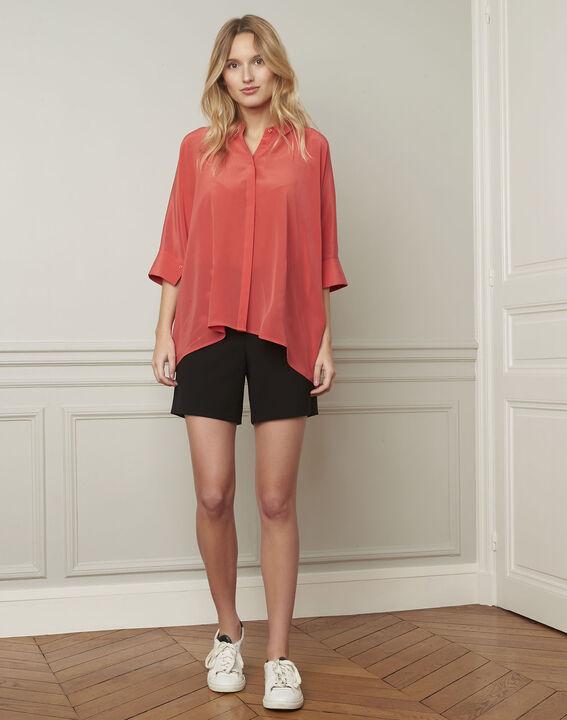 Vania coral flared silk blouse PhotoZ | 1-2-3
