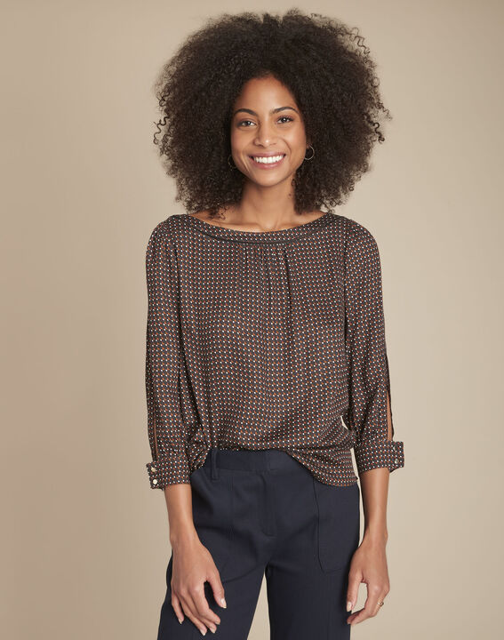 Melena black printed blouse PhotoZ | 1-2-3