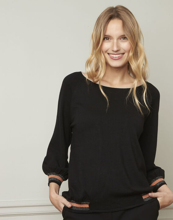 Amarante black sporty style pullover with lurex details (1) - Maison 123