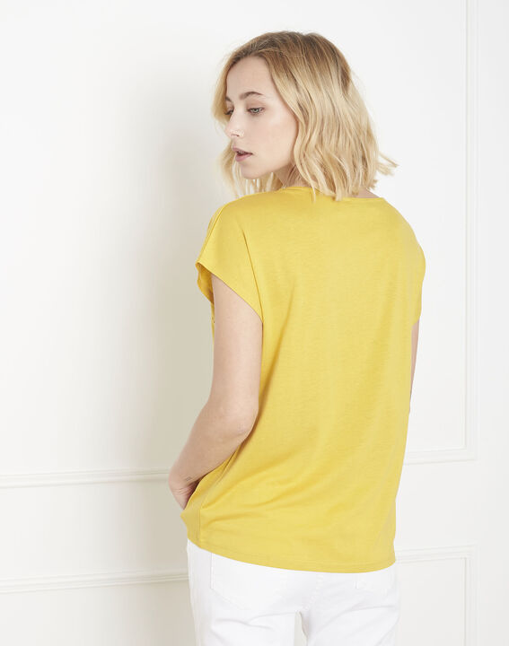 Provence yellow T-shirt with ladder lace trim (4) - Maison 123