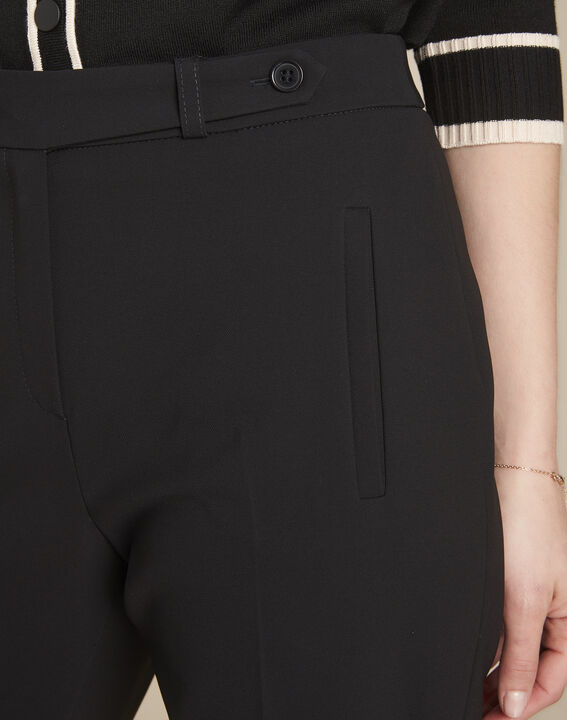 Lara black microfibre cigarette trousers (3) - Maison 123