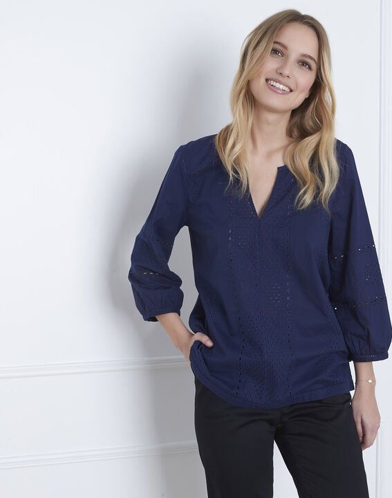 Verveine navy blouse with broderie anglaise (1) - Maison 123