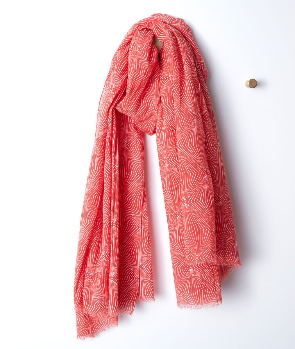 Beth printed cotton scarf PhotoZ | 1-2-3