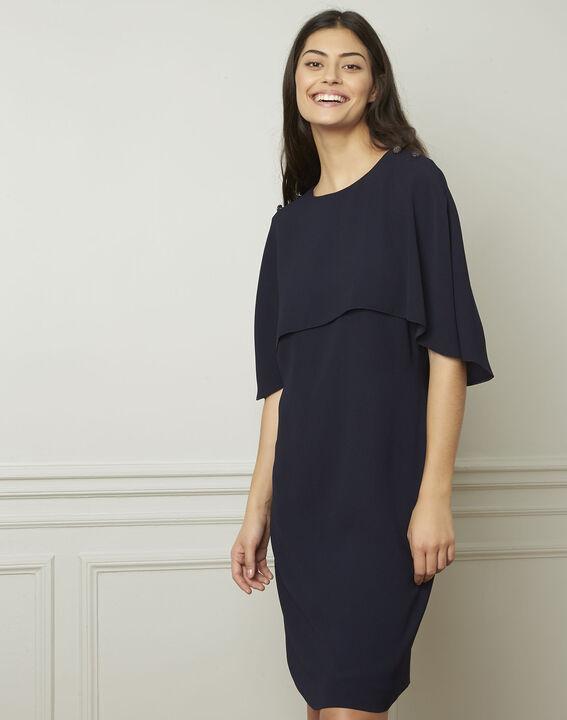 Heidi navy dress with cape detail  (1) - Maison 123