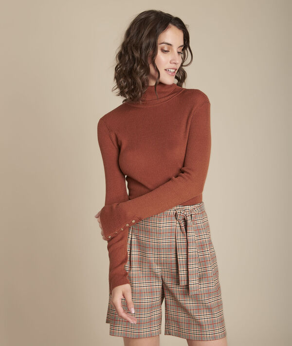 Florale mahogany ribbed roll-neck pullover PhotoZ | 1-2-3