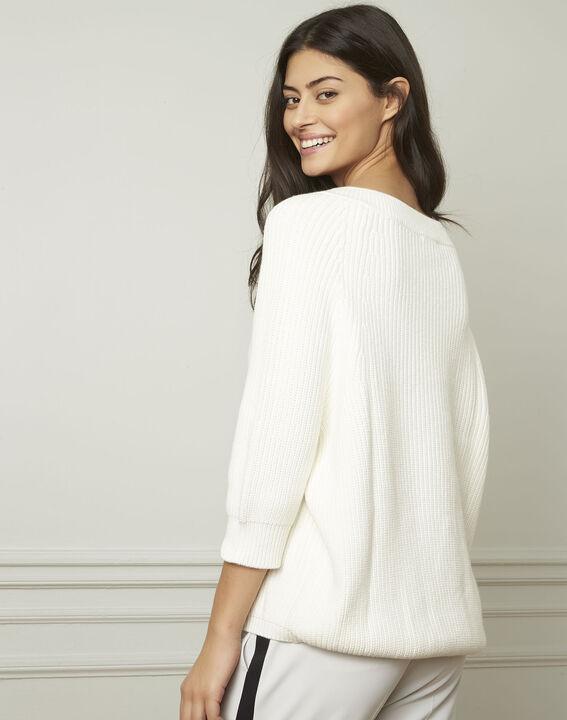 Ankara cream cotton and wool blend V-neck pullover (3) - Maison 123