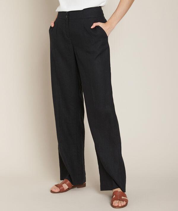 Galaxy black wide-leg linen trousers PhotoZ | 1-2-3