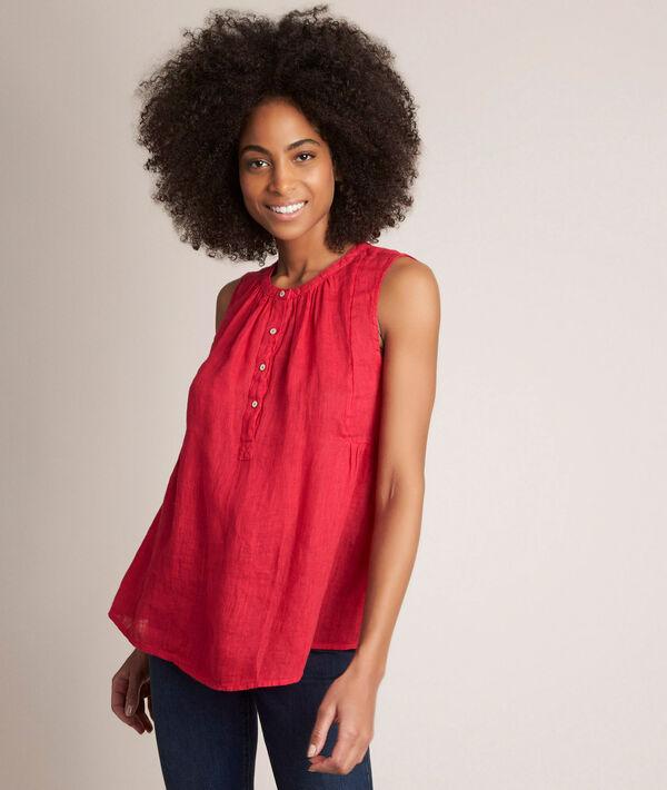 Eloane red linen top PhotoZ   1-2-3