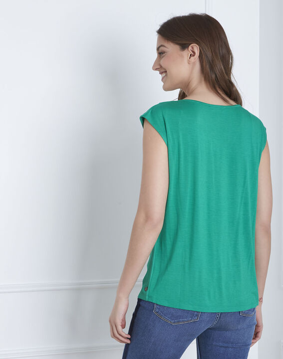 Neptune green dual-material blouse (4) - Maison 123