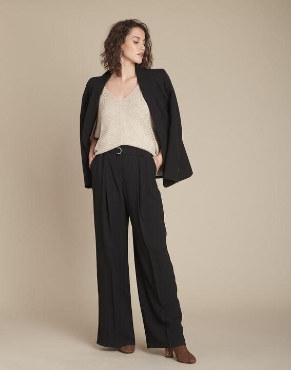 Aube cream lurex pullover with stitch details PhotoZ | 1-2-3