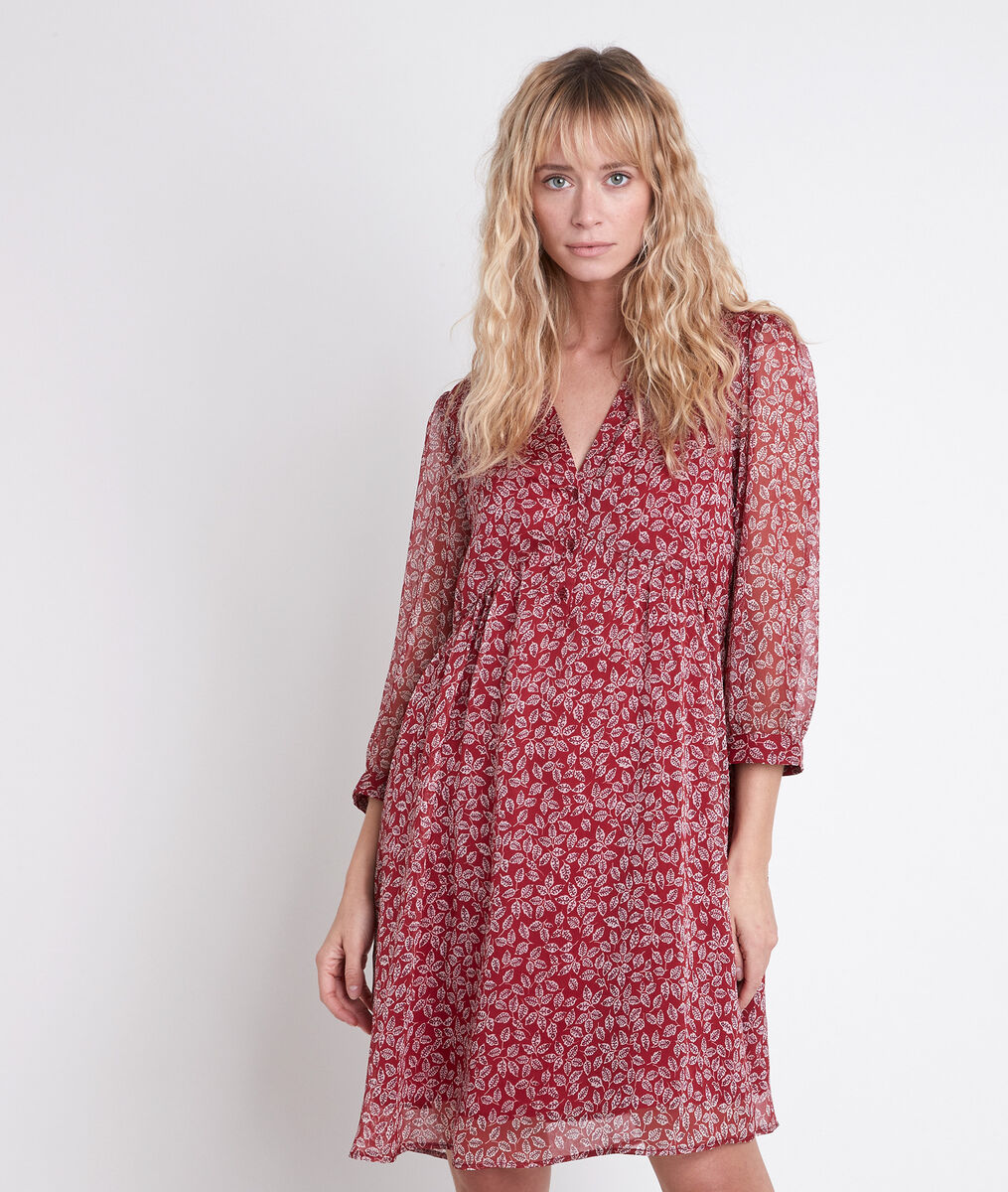 CALYPSO red floral printed dress PhotoZ | 1-2-3