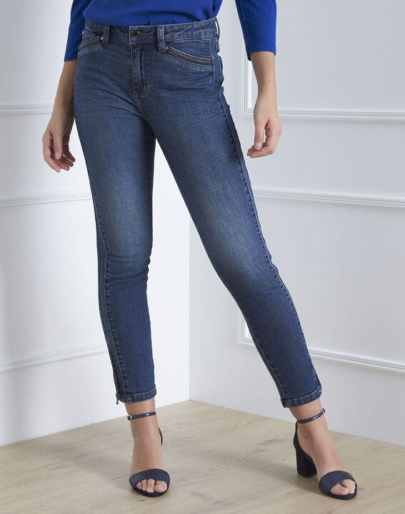 Opera indigo slim-fit regular waist jeans with zips  (2) - Maison 123