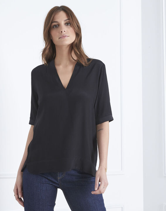 Virginie black V-neck flowing blouse PhotoZ | 1-2-3
