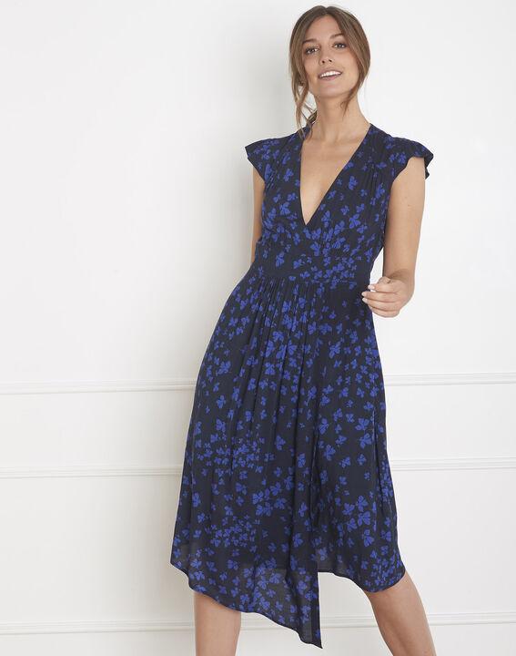 Lohan navy dress with asymmetric flower print PhotoZ | 1-2-3