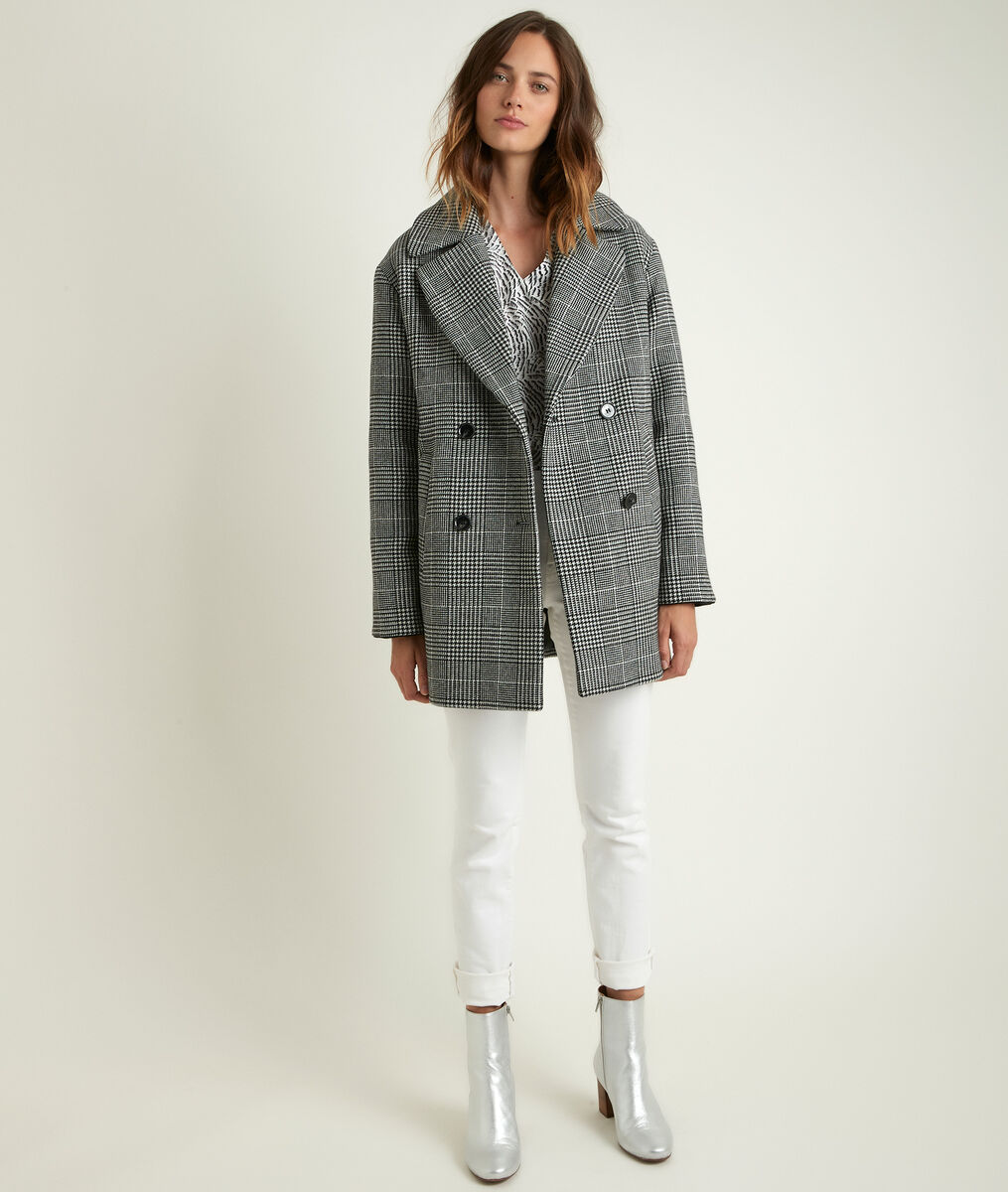 Oprah 3/4-length checked coat PhotoZ | 1-2-3