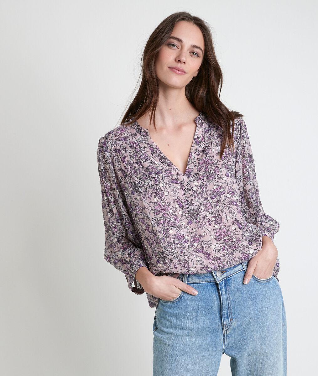 Elsa mauve printed blouse PhotoZ | 1-2-3