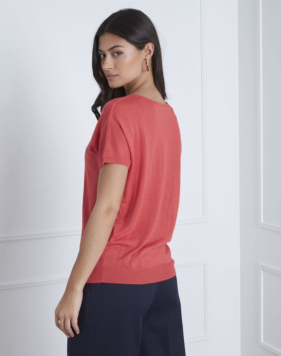 Never red pullover with neckline detailing (4) - Maison 123