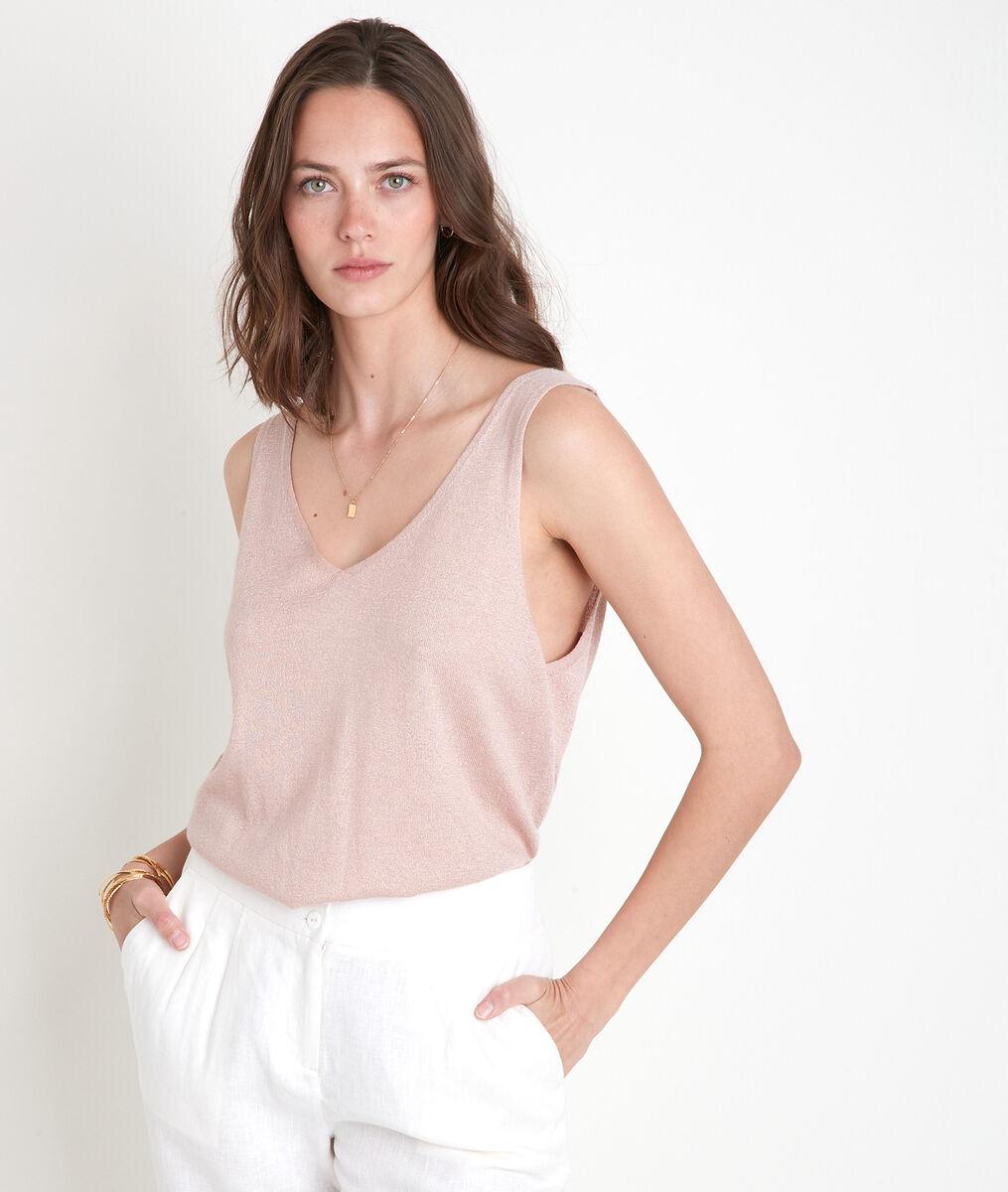 Alizée powder-coloured knitted vest top PhotoZ | 1-2-3