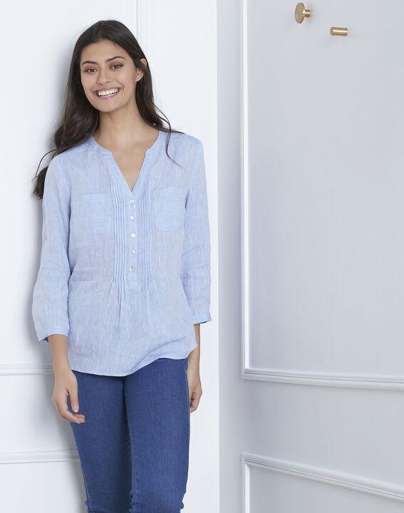 Roma sky blue linen blouse (1) - Maison 123