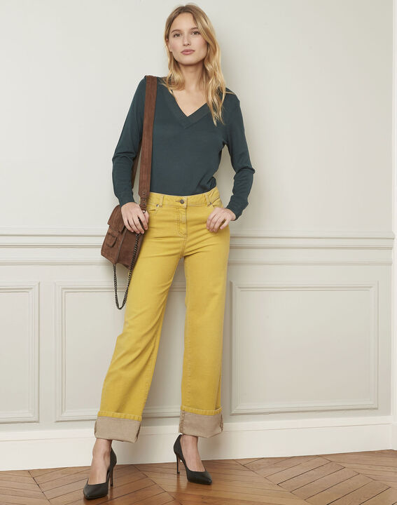 Chica yellow flared cotton jeans  PhotoZ | 1-2-3