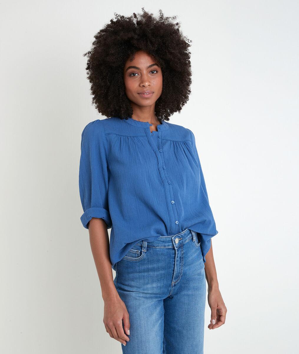 Tobby blue cotton blouse PhotoZ | 1-2-3