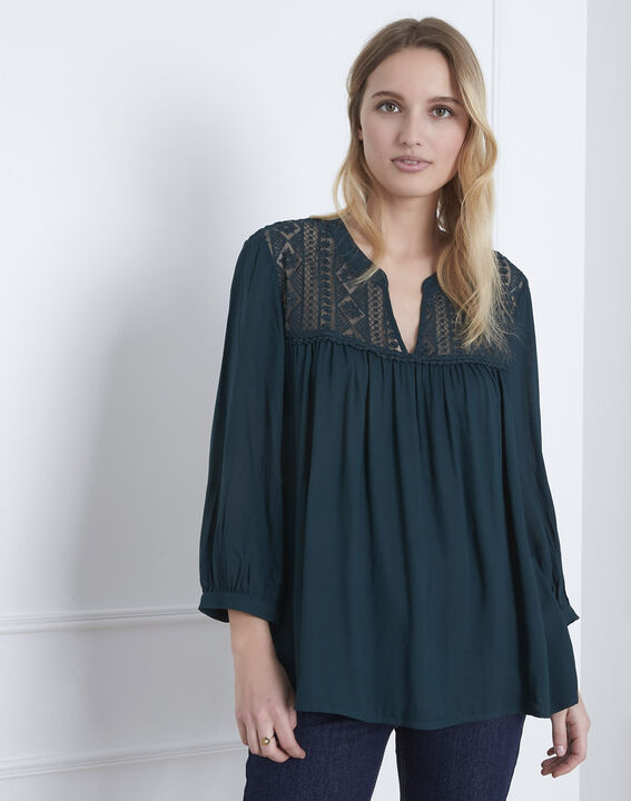 Veracine dark green lace blouse (1) - Maison 123