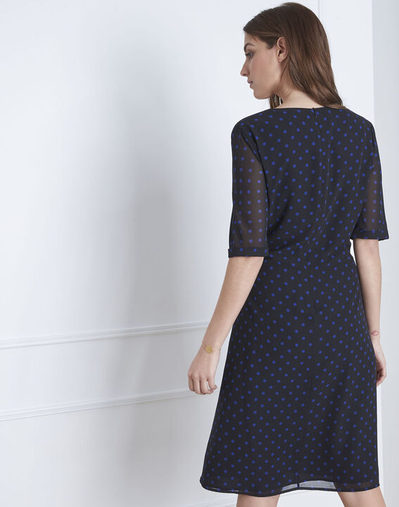 """Lovely"" dotted navy wrap dress (4) - Maison 123"