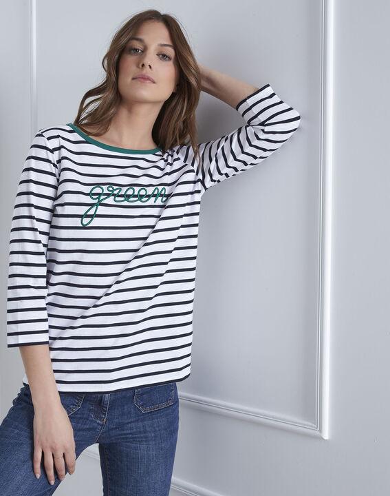 Paraise white striped slogan T-shirt PhotoZ | 1-2-3