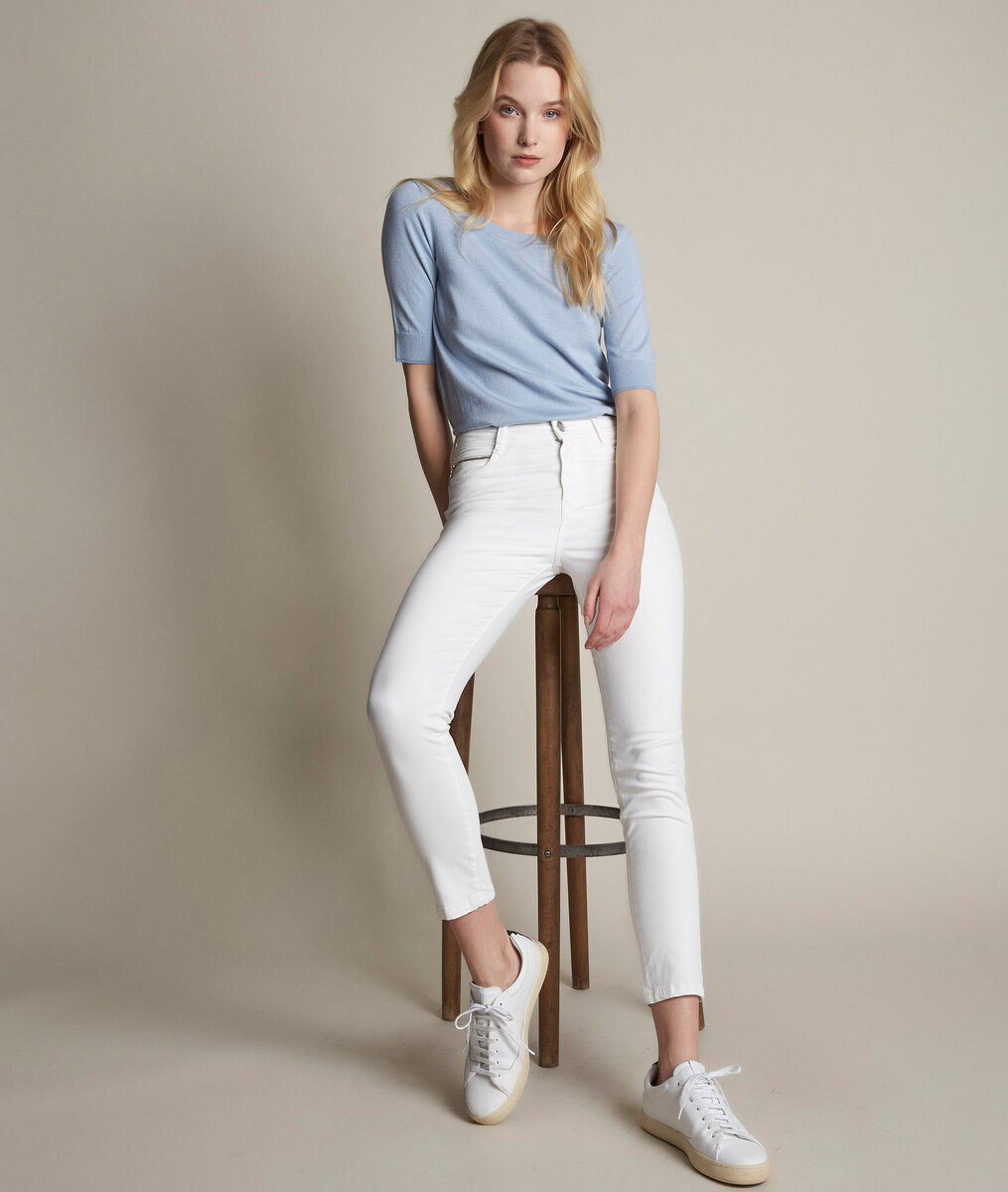 The iconic Sultan ecru slim-fit cotton satin trousers PhotoZ | 1-2-3