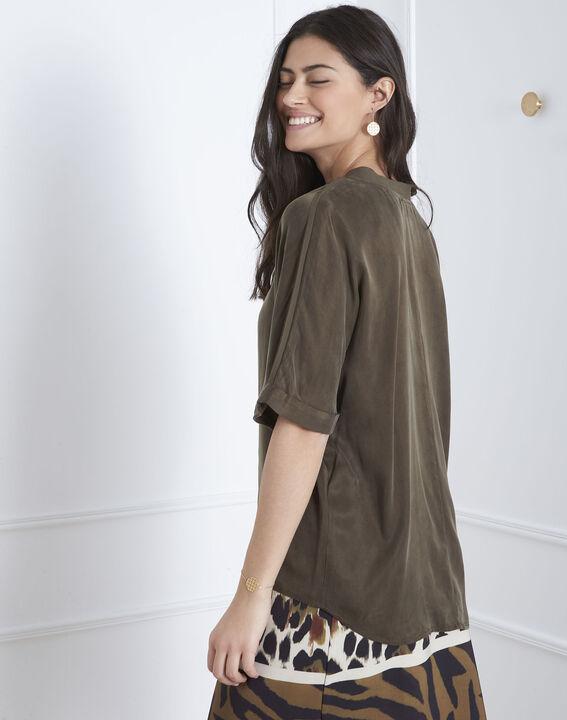 Venise khaki bi-material blouse (4) - Maison 123